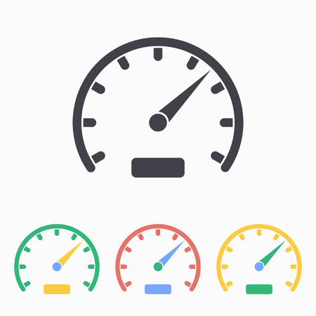 icon buttons: Speedometer icon, vector illustration.