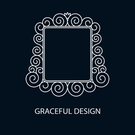 logo element: Decorative vector monogram. Element for logo design, place for text. Vector illustration.