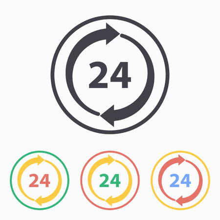 24 hour: 24 hour service icon, vector illustration.