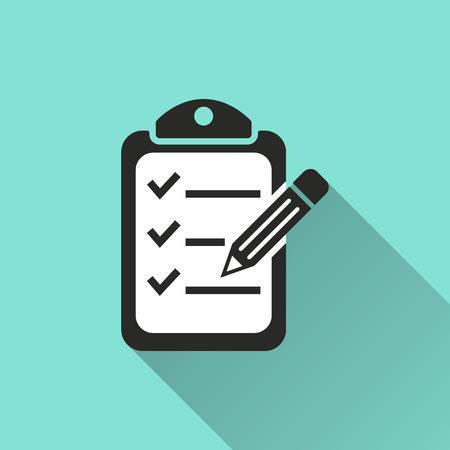 Clipboard pencil  icon, vector illustration, flat design. 免版税图像 - 45319558