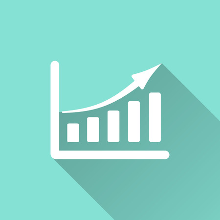 Growth of business icon. Vector illustration, flat design. Illustration