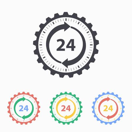 24 hour: 24 hour service icon. Vector illustration, flat design.