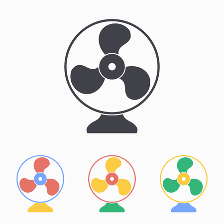 spinner: Electric fan icon. Vector illustration, flat design.