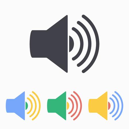 Loudspeaker icon. Vector illustration, flat design. Vettoriali