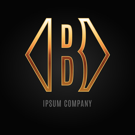 decorative letter: Graphic decorative design alphabet on a black background.  Letter B. Illustration