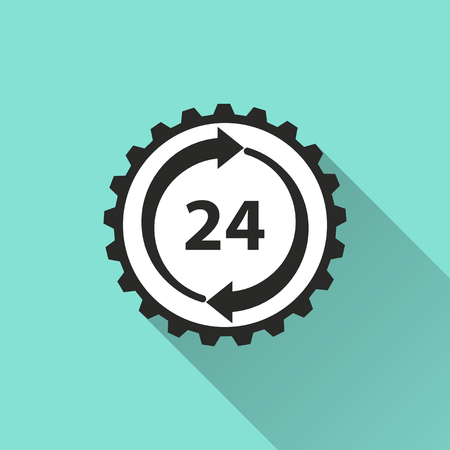 round the clock: 24 hour service icon. Vector illustration, flat design.