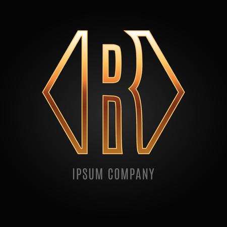 Gráfico alfabeto diseño decorativo sobre un fondo negro. Carta de R.