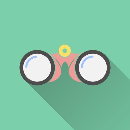 spectator: Binocular  icon on a green background. Vector illustration, flat design. Illustration