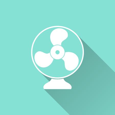 orificio nasal: icono del ventilador eléctrico sobre un fondo verde. ilustración vectorial, diseño plano.