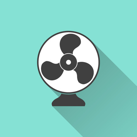 aeration: Electric fan  icon on a green background. Vector illustration, flat design. Illustration