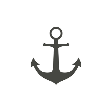 navy pier: Anchor - vector icon in black on a white background.
