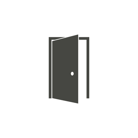 Door - vector icon in black on a white background.