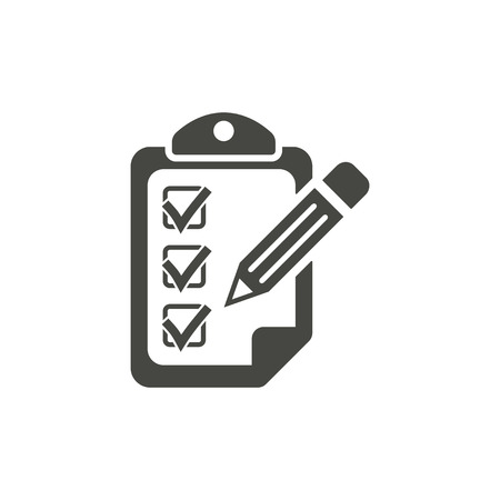 scheduling: Clipboard - vector icon in black on a white background. Illustration
