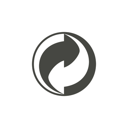 Recycling - vector icon in black on a white background. Vettoriali