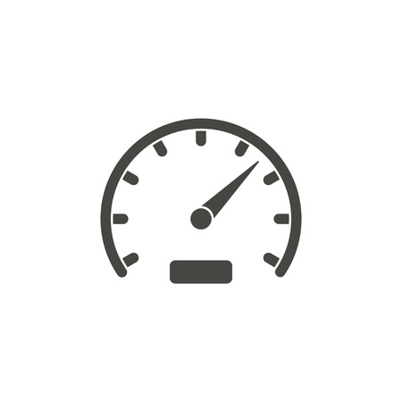 Speedometer - vector icon in black on a white background. Vettoriali