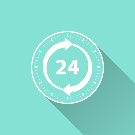 24 hour: 24 hour service icon on a green background. Vector illustration, flat design. Illustration