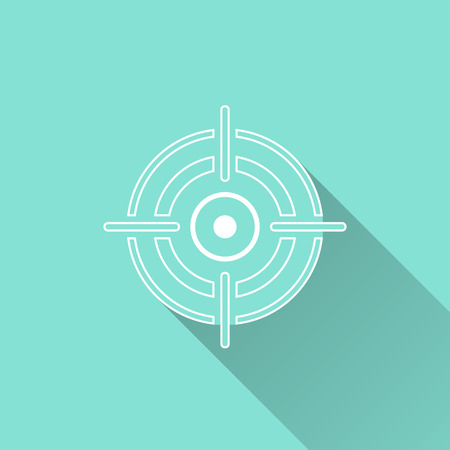 Target icon on a green background. Vector illustration, flat design.