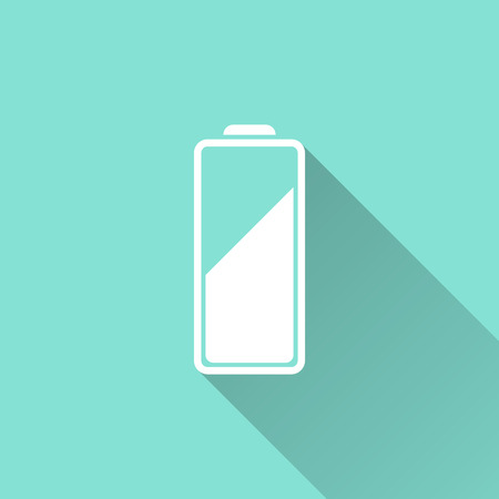 accumulator: Battery icon on a green background. Vector illustration, flat design. Vettoriali