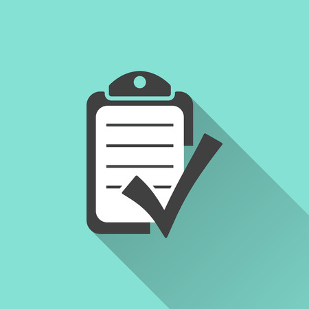 evaluation: Checklist icon on a green background. Vector illustration, flat design.