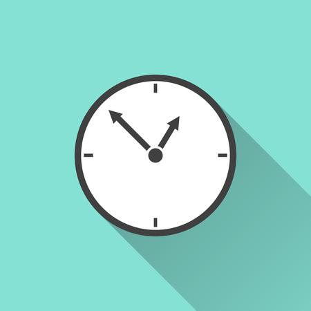 clockwise: Clock icon on a green background. Vector illustration, flat design. Illustration