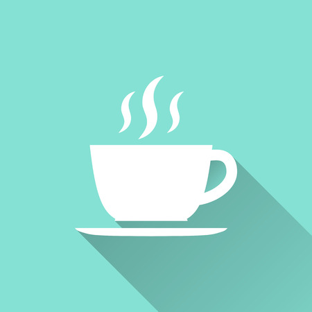 녹색 배경에 커피 컵 아이콘입니다. 벡터 일러스트 레이 션, 평면 디자인. 일러스트