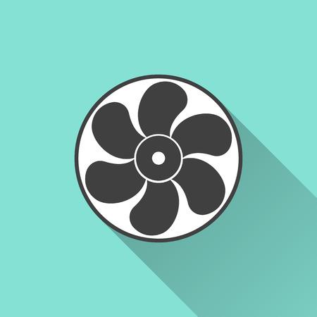 orificio nasal: Icono del ventilador de escape en un fondo verde. Ilustraci�n vectorial, dise�o plano.