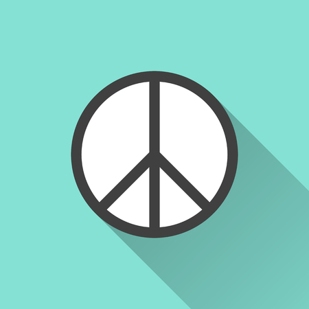 illustration and: Peace icon on a green background. Vector illustration, flat design.
