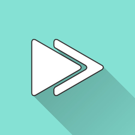 cerulean: Arrow icon on a green background. Vector illustration, flat design.