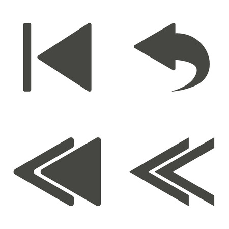 revision: Backward - vector icon in black on a white background.