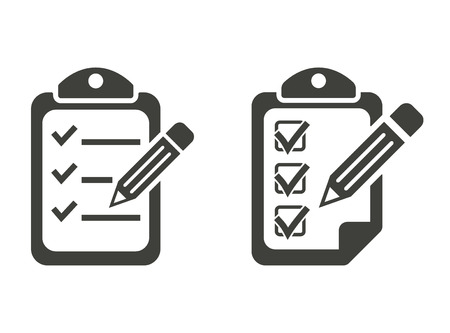 scheduling: Clipboard pencil - vector  icons in black on a white background.