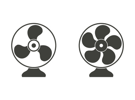 aeration: Electric fan - vector icons in black on a white background.