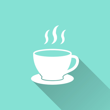 Coffee cup icon on a green background. Vector illustration, flat design.