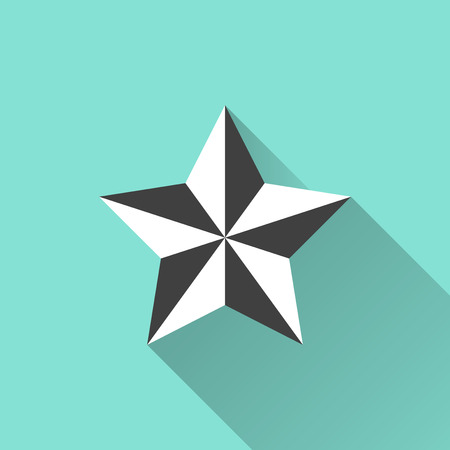 appraisal: Star icon  on a green background. Vector illustration, flat design. Illustration