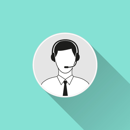 human face: Support  icon  on a green background. Vector illustration, flat design.