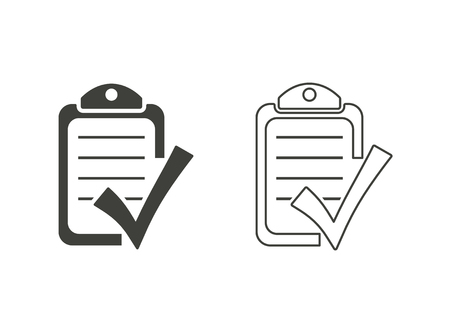 filling folder: Checklist - vector icons in black on a white background.