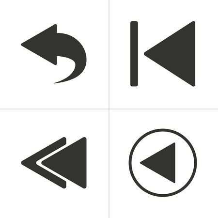 revision: Set of simple icons black backward on white background. Vector illustration.