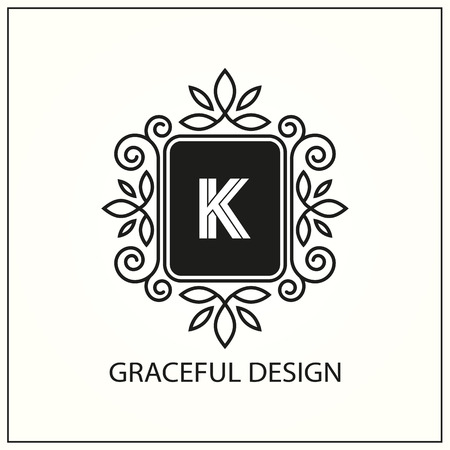 Decorative monogram. Design element with space for text on a white background. Vector illustration. Illustration