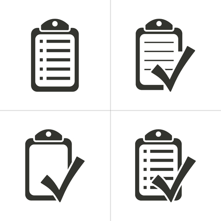 Set of simple icons black checklist on white background. Vector illustration.