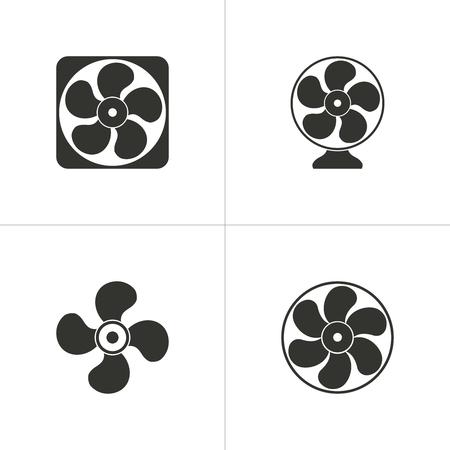 orificio nasal: Conjunto de iconos simples ventilador negro sobre fondo blanco. Ilustración del vector.