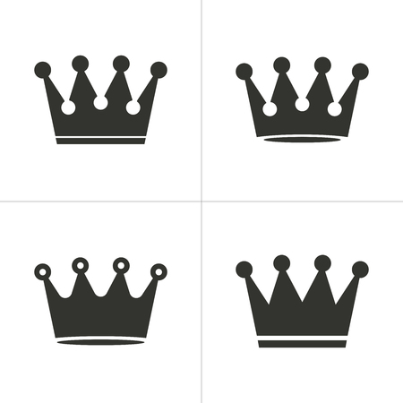Set of simple icons black crown on white background. Vector illustration.
