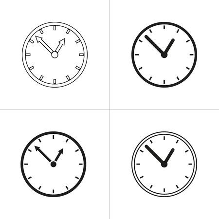 black pictogram: Set of simple icons black clock on white background. Vector illustration. Illustration