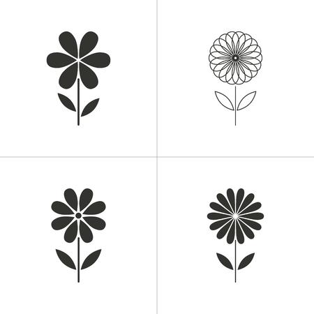simple background: Set of simple icons black flower on white background. Vector illustration. Illustration
