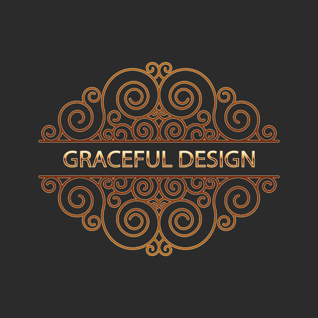 gold ornaments: Design element with space for text. Vector illustration. Illustration