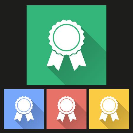 merit: Award icon with long shadow, flat design. Vector illustration. Illustration