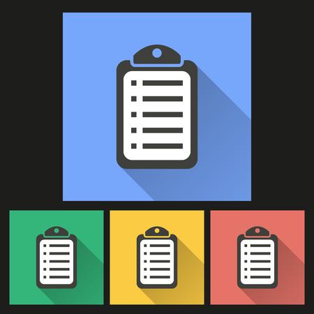 filling folder: Checklist   icon with long shadow, flat design. Vector illustration. Illustration