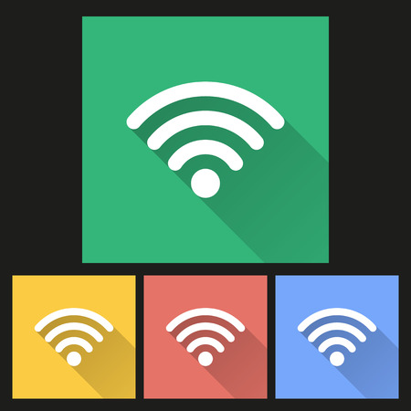 wi fi icon: Wi Fi Icon with long shadow, flat design. Vector illustration. Illustration