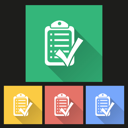filling folder: Checklist  icon with long shadow, flat design. Vector illustration.