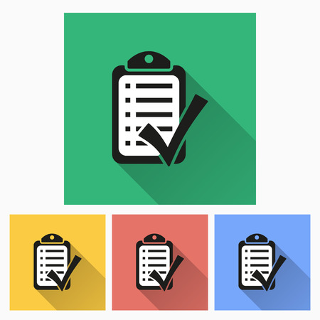 Checklist  icon with long shadow, flat design. Vector illustration.