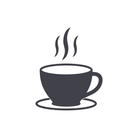 black coffee: Coffee cup - vector icon in black on a white background.