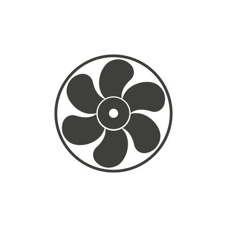 orificio nasal: Fan - icono del vector en negro sobre un fondo blanco.